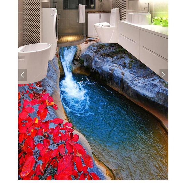 Beibehang pâte peinture moderne HD lac tunnel d\'eau épaissi étanche salle  de bains cuisine balcon PVC mur papier sol peintures murales