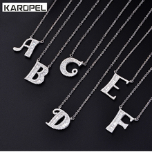 Customize Necklace Silver Color With Clear Cubic Zircon 26 Letter Necklaces & Pendants For Women Fashion Jewelry