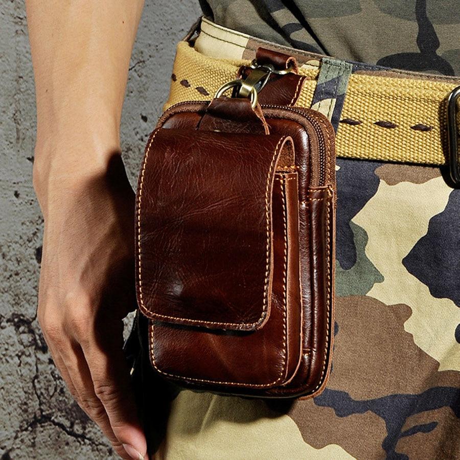 Men Genuine Leather Fanny Pack Cell Phone Cigarette Key Case Coin Purse Pouch Hip Bum Belt Crazy Horse Cowhide Hook Waist Bag