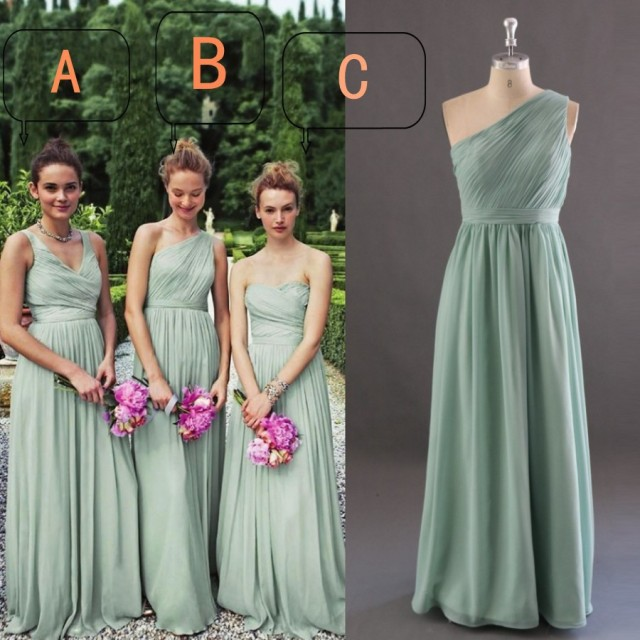 Old Green Chiffon Bridesmaid Dresses A B Or C Style Long Dress To Formal Party Pleat Custom