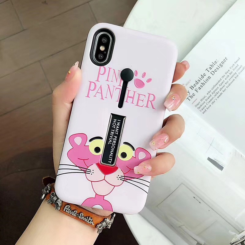 Cyato Cute Pink Dog kickStand case For iPhone 7 CASE for iphone 8 6 6s plus TPU Back Cover silicone coque capa X