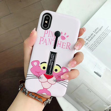 цена на Cyato Cute Pink Dog kickStand case For iPhone 7 CASE for iphone 8 6 6s plus TPU Back Cover silicone coque capa for iphone X case