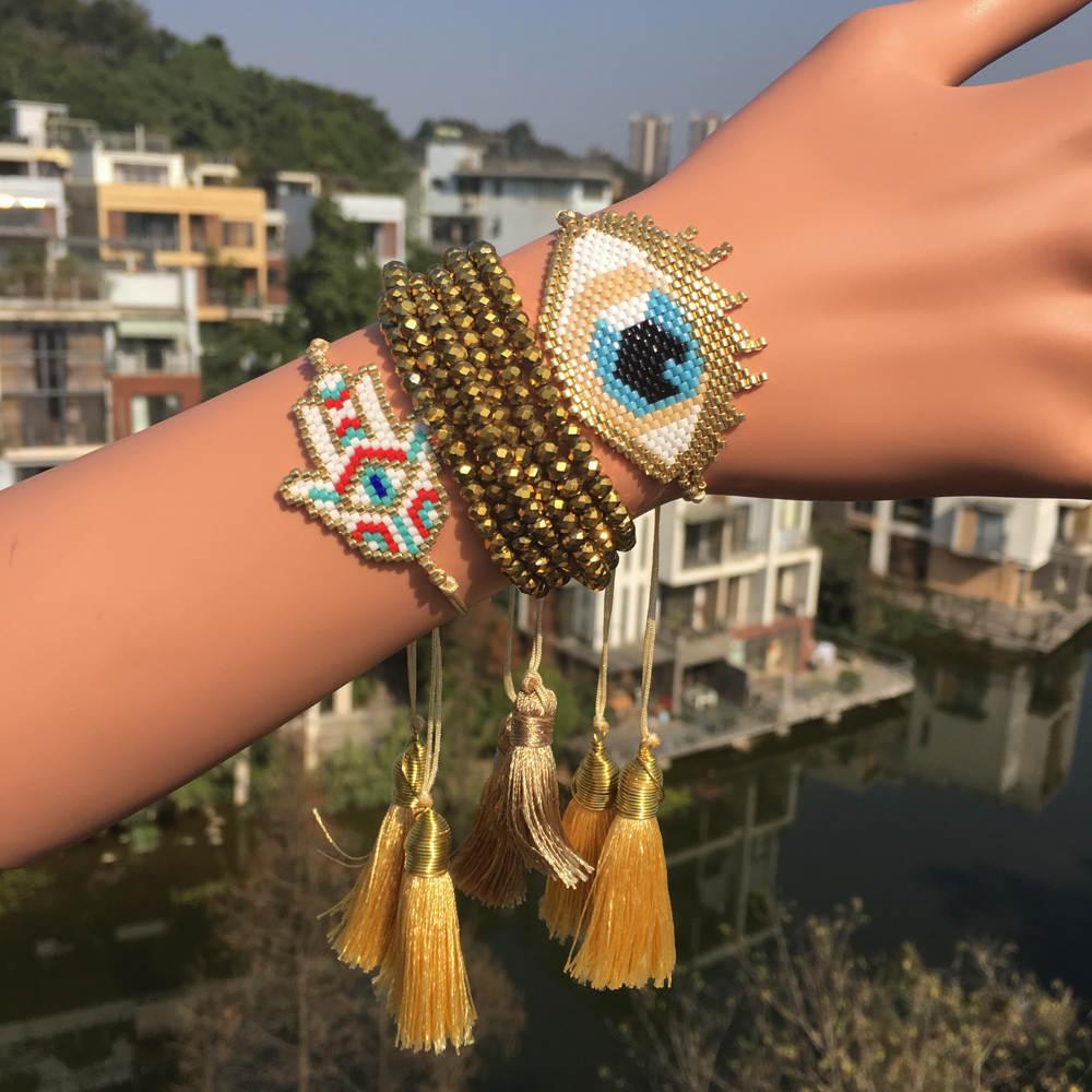 Go2boho Gold Pulseras Delica MIYUKI Bracelet Jewelry Evil Eye Bracelet 2019  Women Turkish Evil Eye Bileklik Gold Crystal Tassel