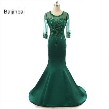 Baijinbai Real Half Sleeve Robe De Soiree Mother Of The Bride Dress Taffeta Long Rhinestone Pearls See Through Evening Dresses