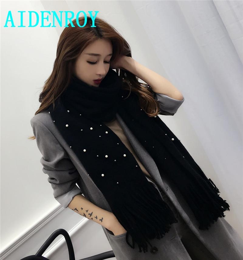AidenRoy Autumn Winter Lady Women's Girl scarf shawl Thick warm With Shiny pearl Diamond