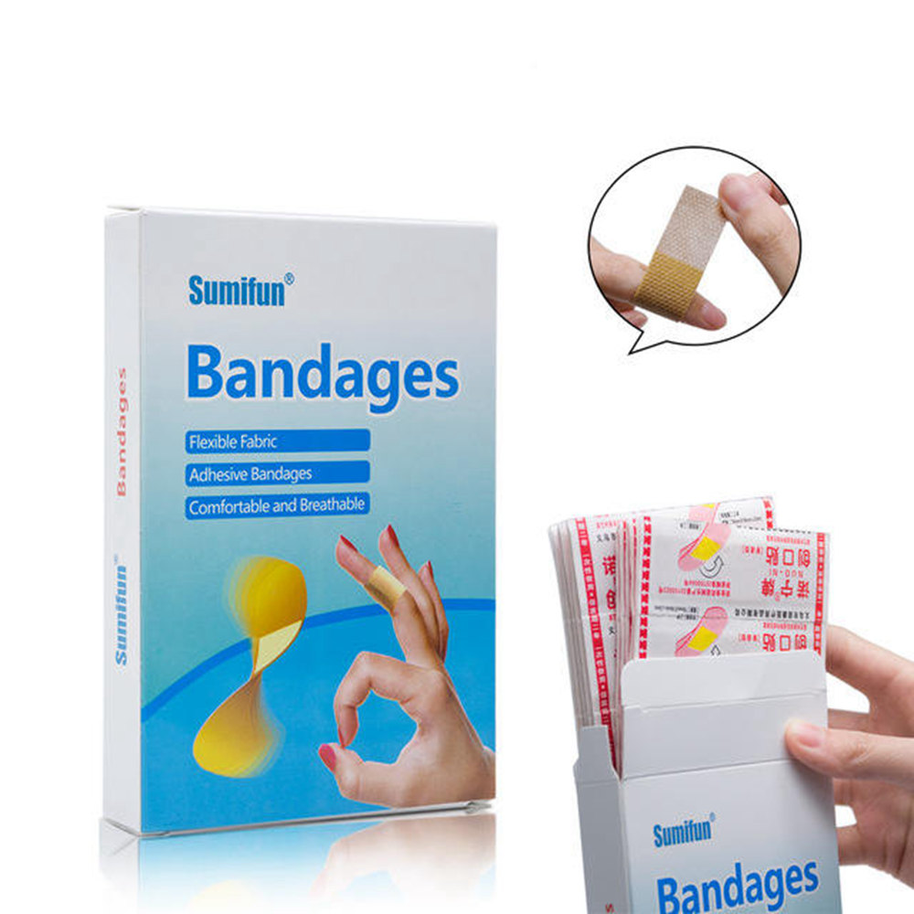 100 Pcs Medical Anti-bacteria Curative Wound Adhesive Paste Band Aid Bandage Sitcker For First Aid Kit Waterproof #269548