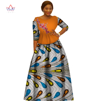 Summer African Embroidery Skirt Sets Dashiki Free headtie Skirt and Crop Top Skirt Set Traditional African Clothing WY3179