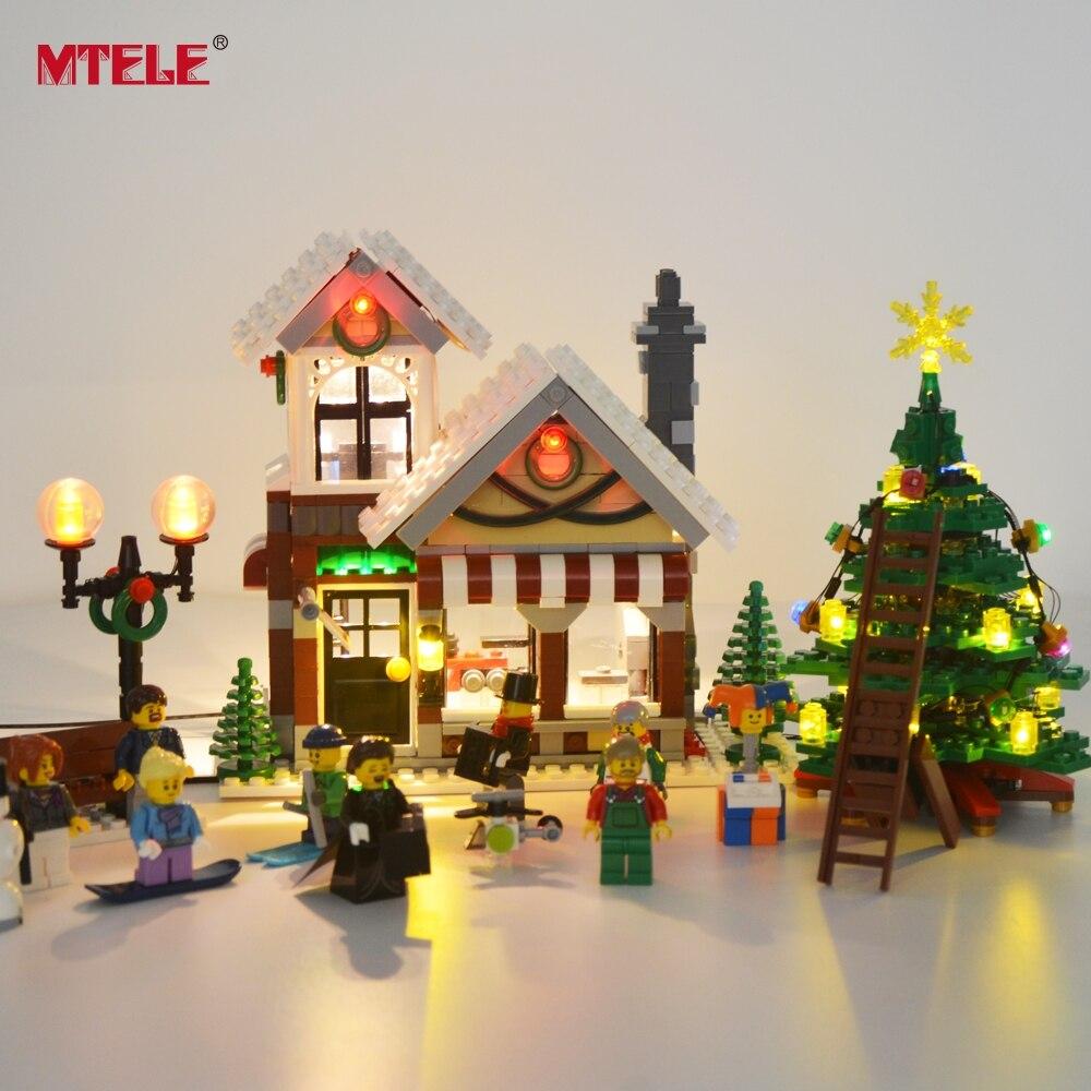 Mtele conjunto de luz led para o criador de inverno aldeia brinquedo loja compatível com modelo 10249 bloco construção natal luz