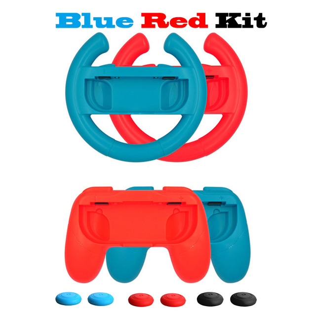10 in 1 Nintend Switch Joystick Accessories Kit with Racing Steering Wheel Handle Grips Analog Caps for Nintendo Switch Joy-con 4