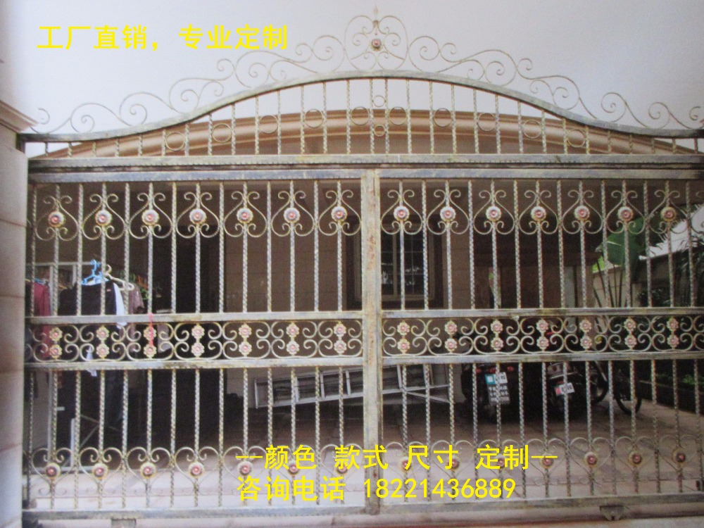 Custom Made Wrought Iron Gates Designs Whole Sale Wrought Iron Gates Metal Gates Steel Gates Hc-g62