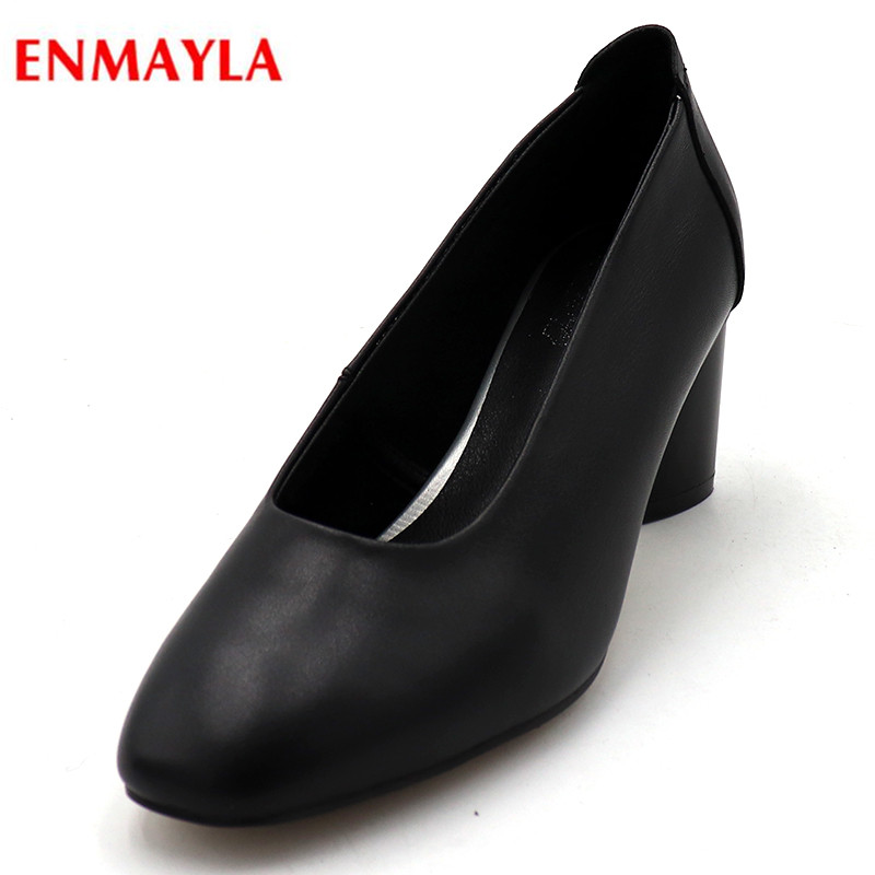 ENMAYLA Plus Size Leather Women Shoes Round Toe Summer Pumps Platform Slip-on Ladies Shoes High Heels Pumps Women Shoes artmu women high heels shoes two kinds of wear methods shoes female handmade leather shoes women pumps slip on shoes