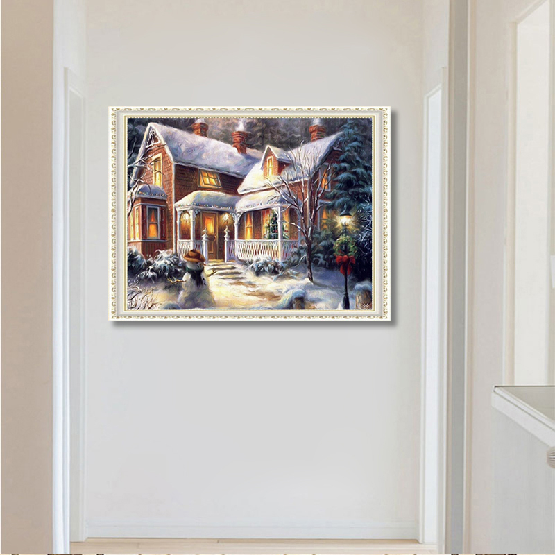 5d diamond painting decoration diy cross embroidery snow forest villa Mosaic diamond painting embroidery Christmas gifts