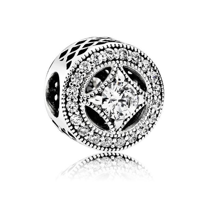 2016 otoño Nueva colección de Plata del encanto con clear CZ 925 plata esterlina encantos aptos del grano pulsera diy joyería fina BE386
