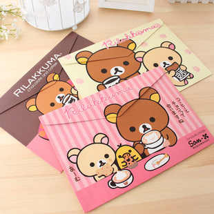 1 Pieces New Bear lovely A4 pouch bag case paper cute Korean Office School Filing Products Document stationery Cartoon