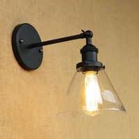 Estilo loft industrial luz de parede do vintage abajur vidro edison led luzes da escada preto arandela apliques murale lampen