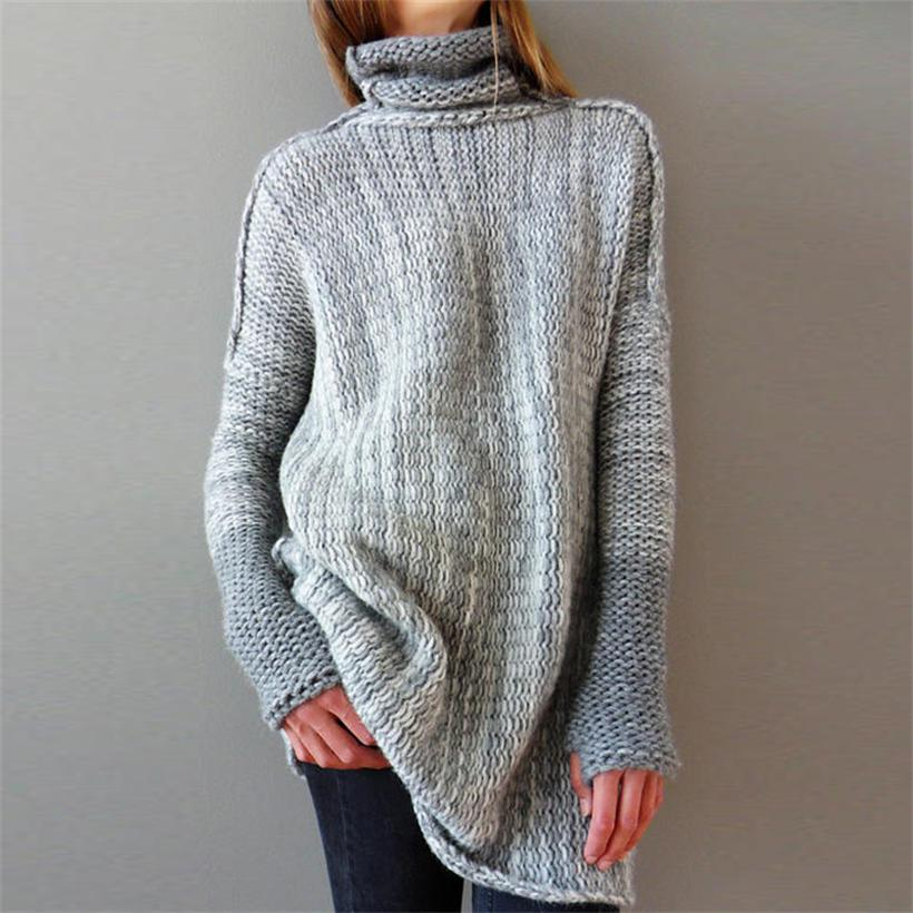 2019 New Hot Sale Women's Spring Autumn Turtleneck Loose Knitted Sweaters Women Long Style Pullover Sweater