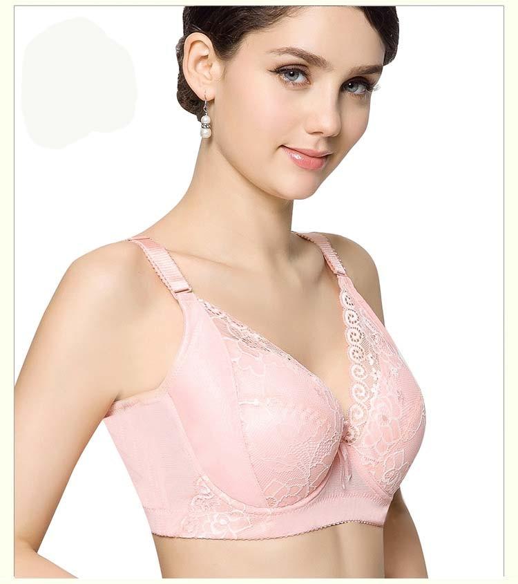 d3e372df62d Push up plus size bra 44 42 40 38 36 C D E cup bra floral lace thin ...