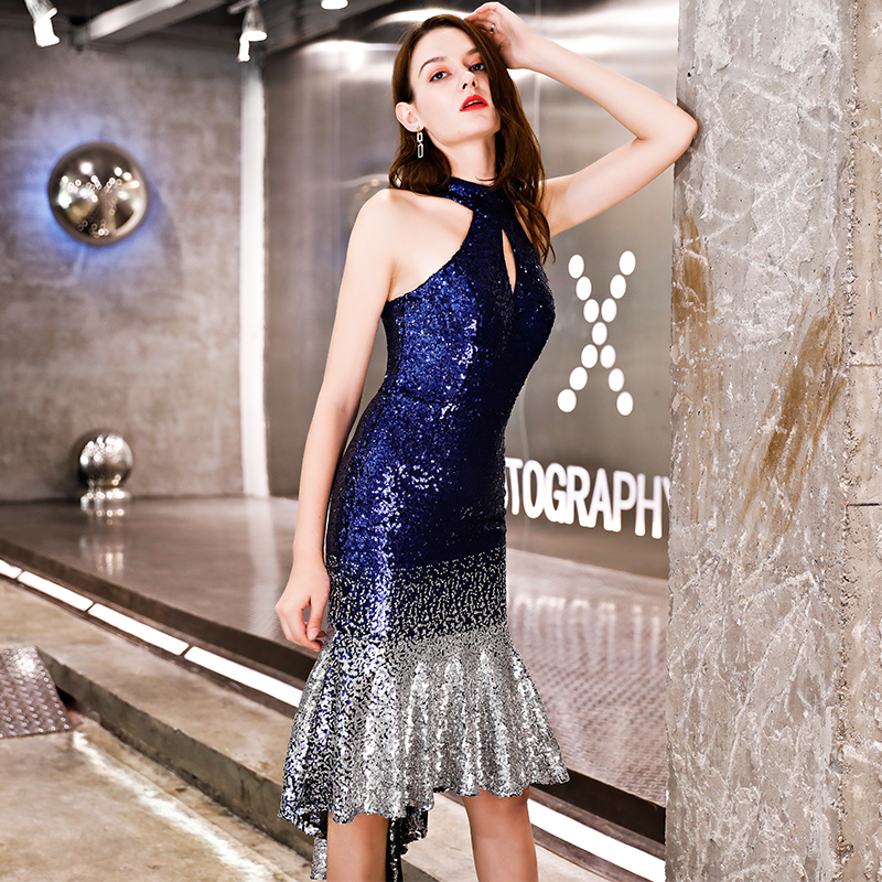 Walk Beside You Navy blue silver Cocktail Dresses Trumpet Mermaid ... a4051b1bd7ac