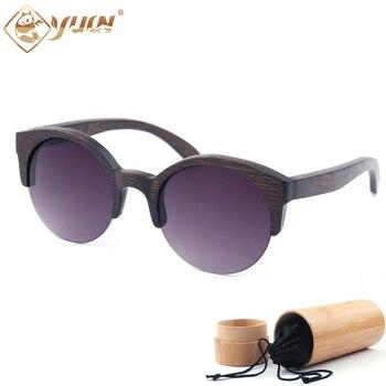 Yuw de bambú marco redondo gafas de sol mujer marca diseñador oculos de sol  femenino de marca original gafas de sol affb968b3d