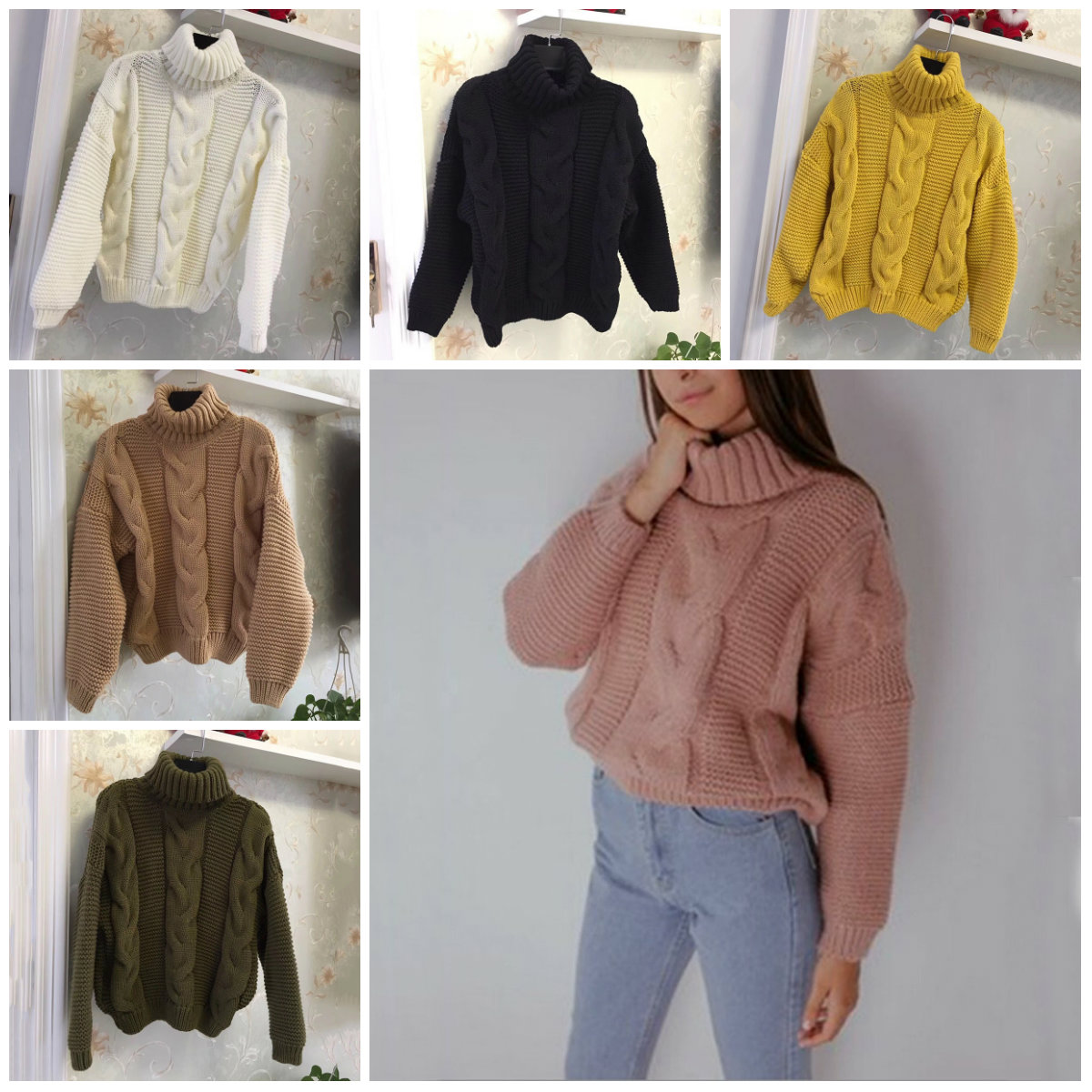 Sweaters Women's Autumn Winter Thickened Knits Korean Style Turtlenek Wear Lazy Neck Short Wind Pullover Tops Beige Brown