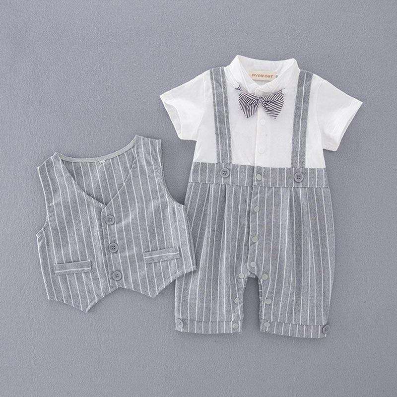 Hot Boy gentleman jumpsuit Jumper short-sleeved baby +vest two-piece outside wear strip bow five point suit cool cloth sets