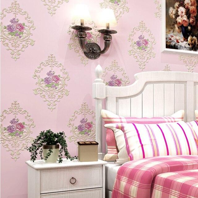 US $27.37 26% OFF|Europäischen Stil Pastoralen Blumen 3D Vlies Tapete  Schlafzimmer Hochzeit Haus Warme Romantische Hintergrund Wand Dekor Moderne  ...