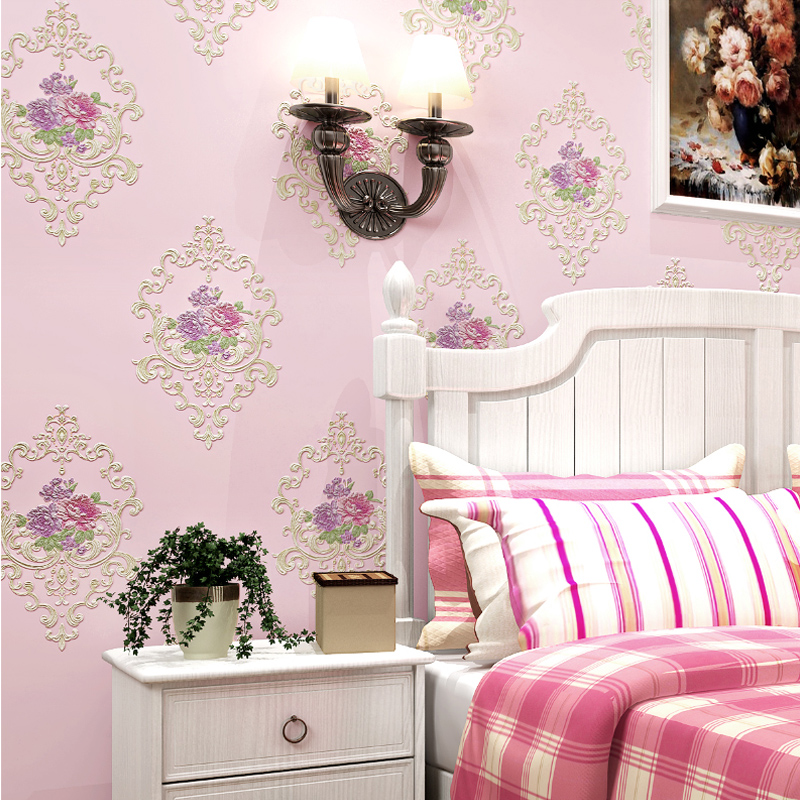 European Style Pastoral Flowers 3D Non-Woven Wallpaper Bedroom Wedding House Warm Romantic Backdrop Wall Decor Modern Wallpapers beibehang modern luxury circle design wallpaper 3d stereoscopic mural wallpapers non woven home decor wallpapers flocking wa