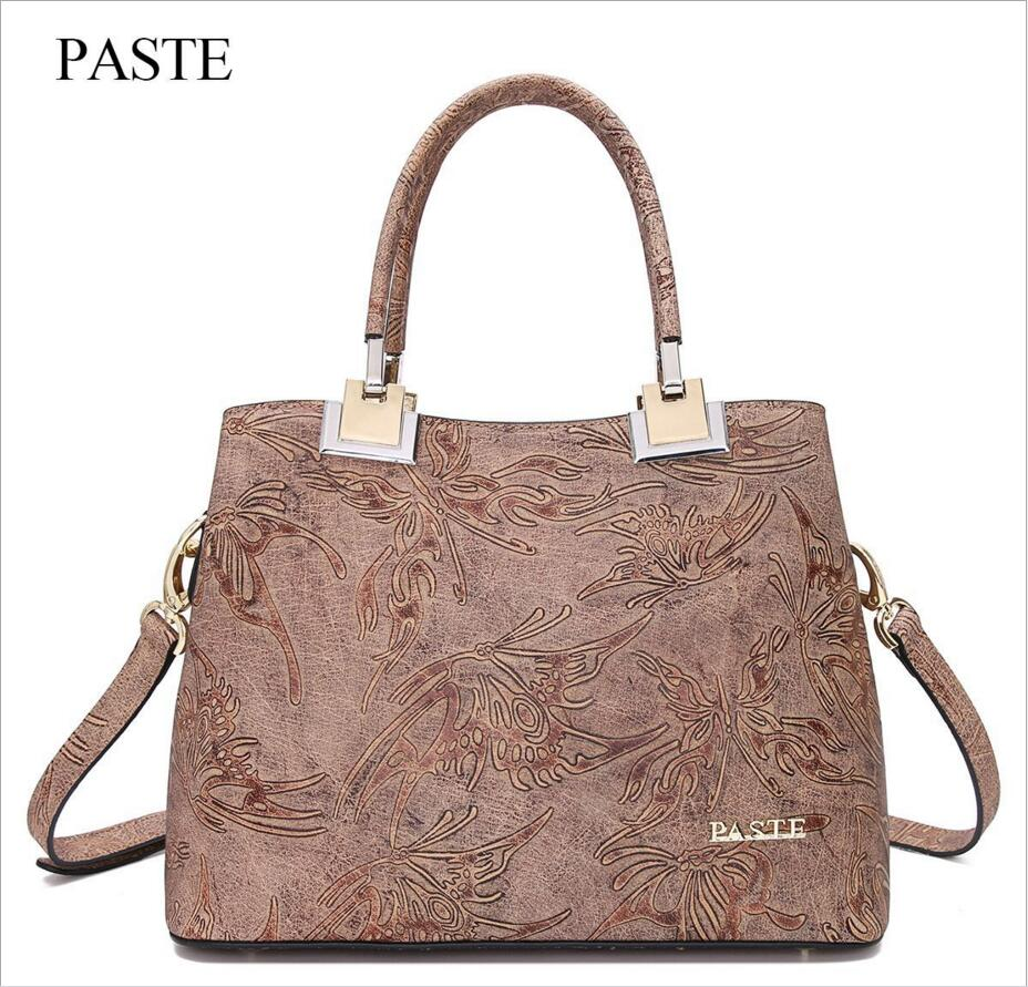 PASTE High-end Luxury Women's Bag 2017 Autumn Winter New Leather Handbags First Layer of Leather Embossed Handbag Messenger Bag paste new leather handbags first layer of leather shoulder bag messenger bag handbag white casual bag female shoulder bag