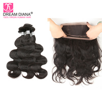 DreamDiana Remy Brazilian Body Wave With 360 Frontal Bresiliens Weave Hair 360 Frontal With Bundle Pre Plucked With Baby Hair