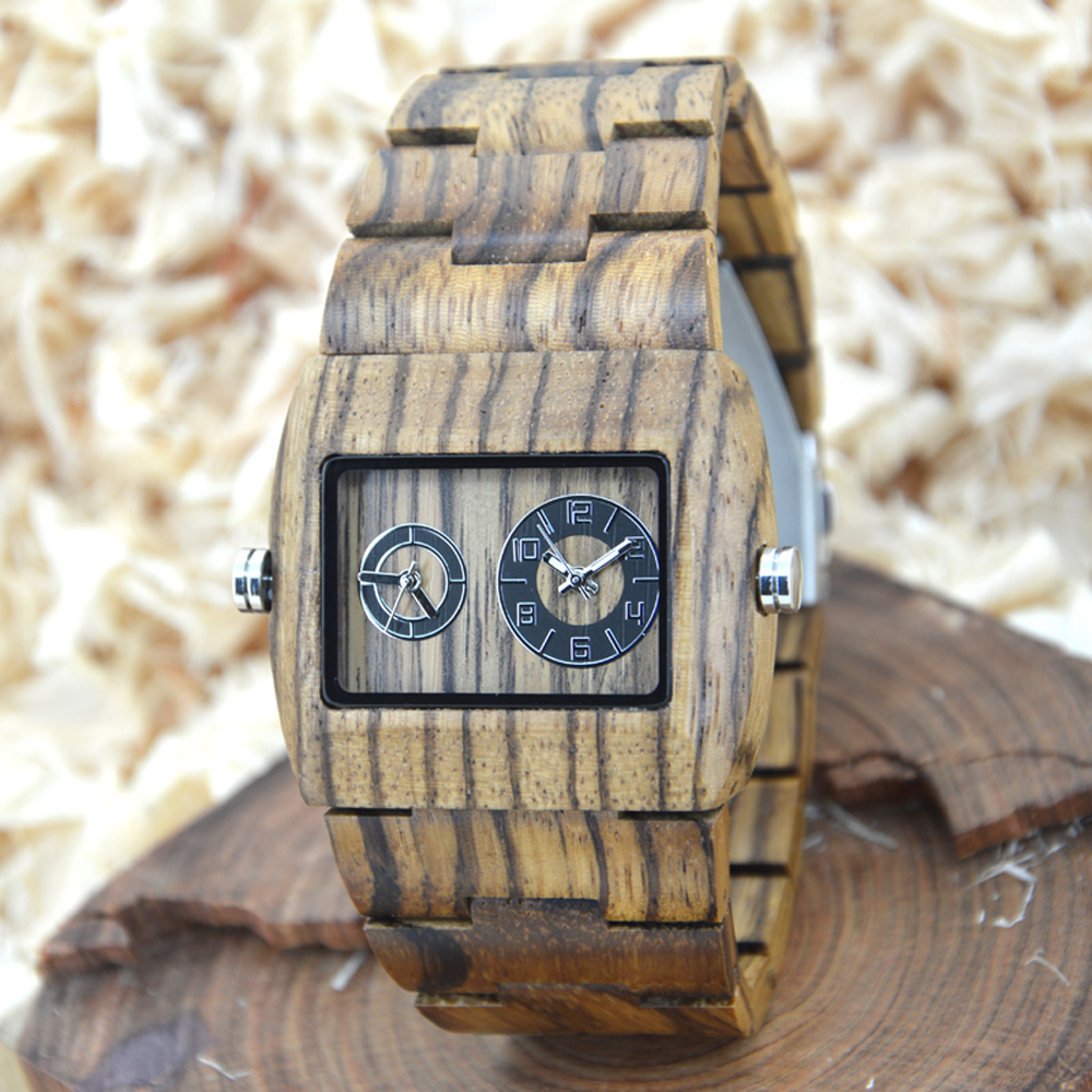 BEWELL Mens Dual Time Zone Watches Men Sport Watches Man Wood Rectangle Case Wooden Quartz-watch with Paper Box 021C bewell wood watch men sport watch display date mens watches top brand luxury horloges mannen with paper box 109d