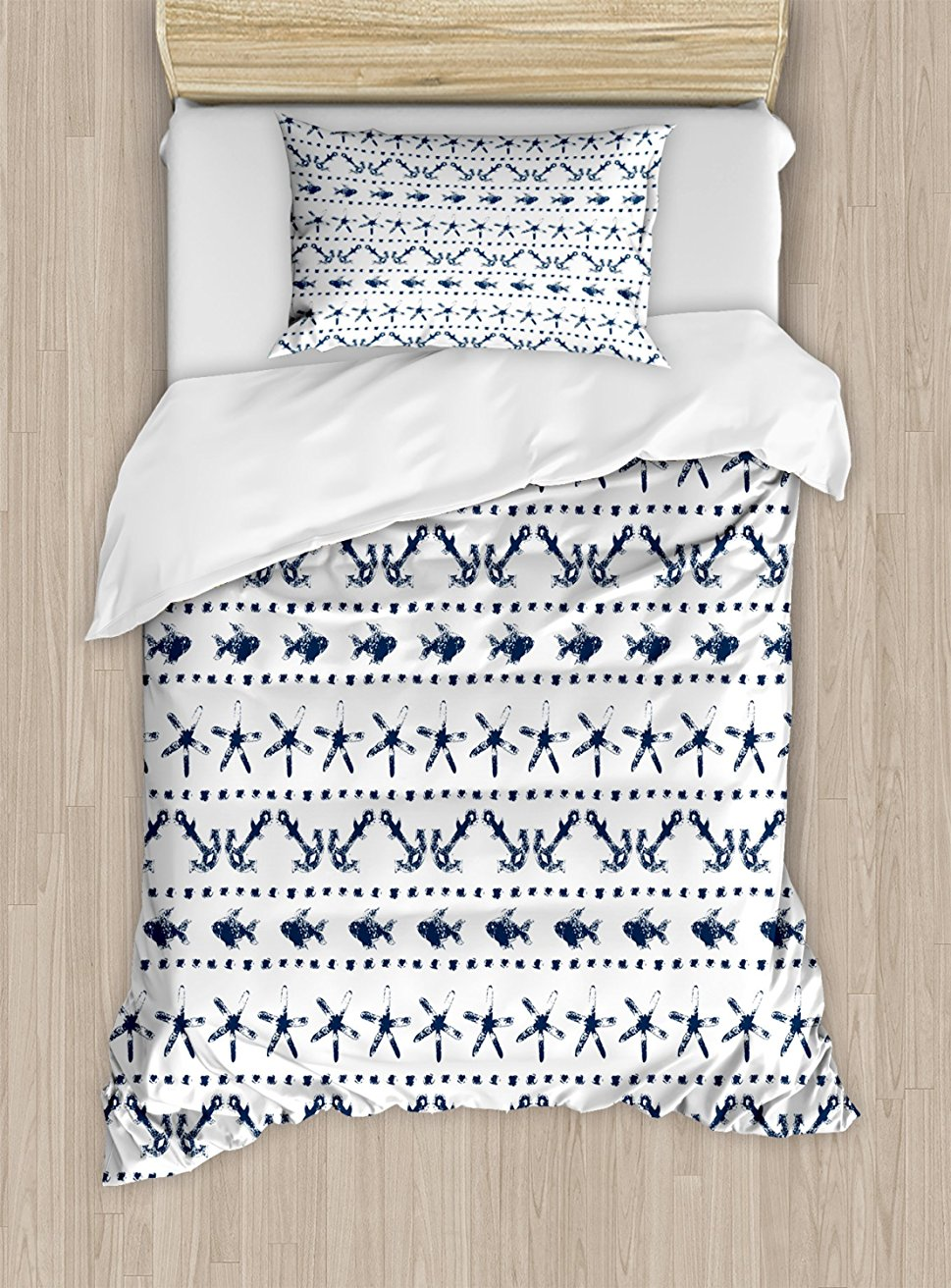 Navy Blue Duvet Cover Set Navy Yatch Themed Design with Fish Starfish and Anchor Nautical Marine Print 4 Piece Bedding Set