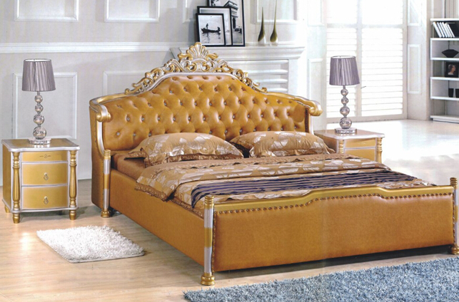 modern style king size golden yellow Leather beds bedroom furniture from China market simple leisure contemporary modern leather bed king size bedroom furniture made in china