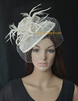 NEW Cream ivory Sinamay fascinator hat with feathers and birdcage veiling for wedding,kentucky derby,ascot races,melbourne cup.