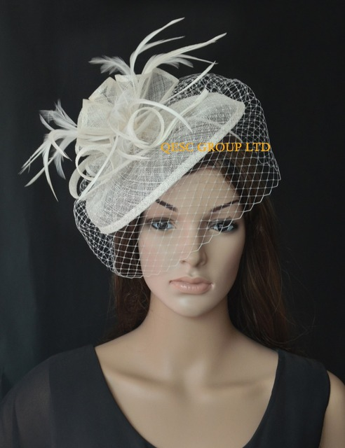 4cf9908bc5b1c NEW Cream ivory Sinamay fascinator hat with feathers and birdcage veiling  for wedding