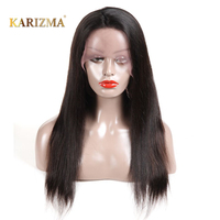 Karizma Brazilian 360 Lace Front Human Hair Wigs Remy Hair Bob Wig Straight Wig With Baby Hair Natural Hairline Black Color