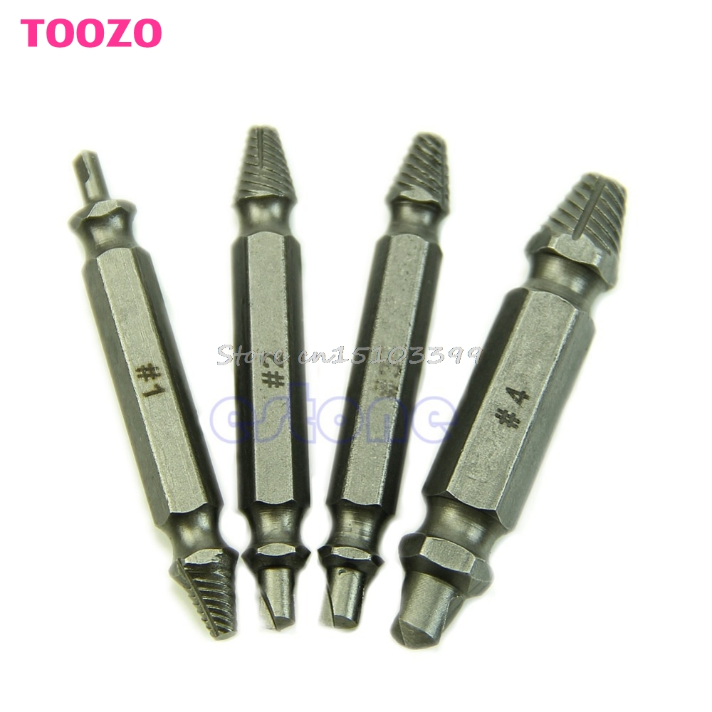 4 in 1 Screw Extractor Drill Bits Guide Set Broken Damaged Bolt Remover Easy Out #G205M# Best Quality screw extractor 6pcs screw easy speed out broken screw stud extractor remover drill tool set