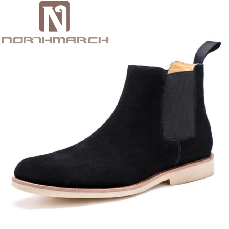 NORTHMARCH Winter Men Boots New Handmade High Quality Men Shoes Lace-Up Casual Ankle Boots Designer Genuine Leather Dress Boots wholesale new men genuine leather lace up pointed toe checked men s oxford dress shoes high quality celebrity ankle boots