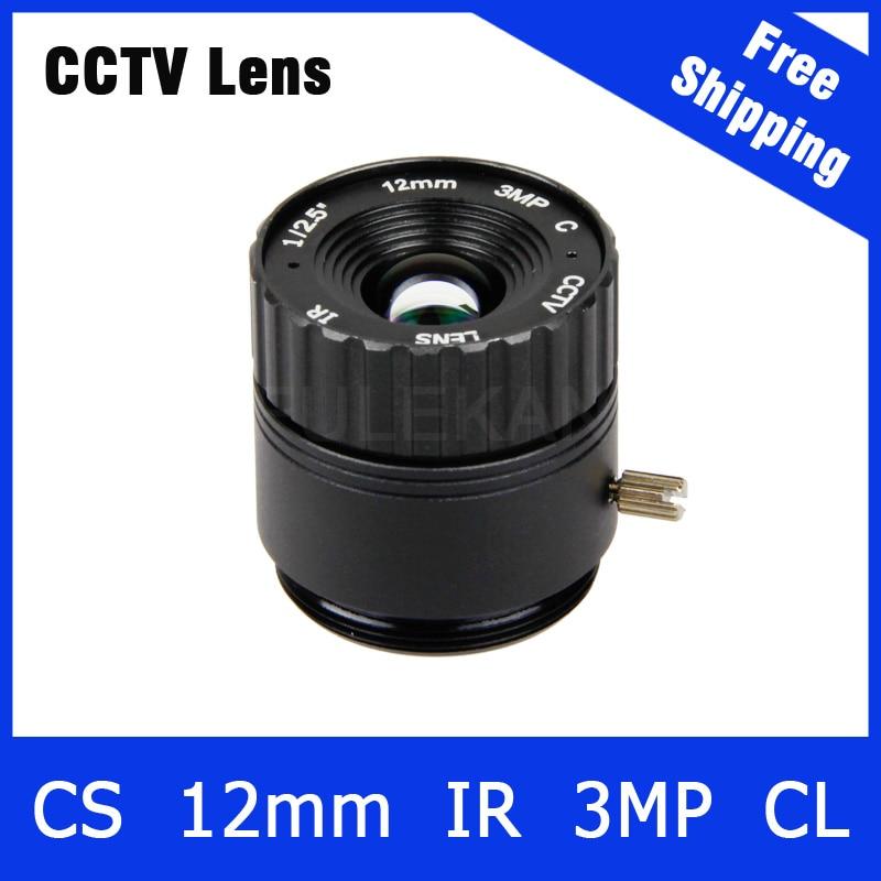 3Megapixel Fixed CS Mount CCTV Camera Lens 12mm For 720P/960P/1080P/3MP IP camera and AHD/CVI/TVI Camera Free Shipping cctv camera housing glass m12 or cs mount