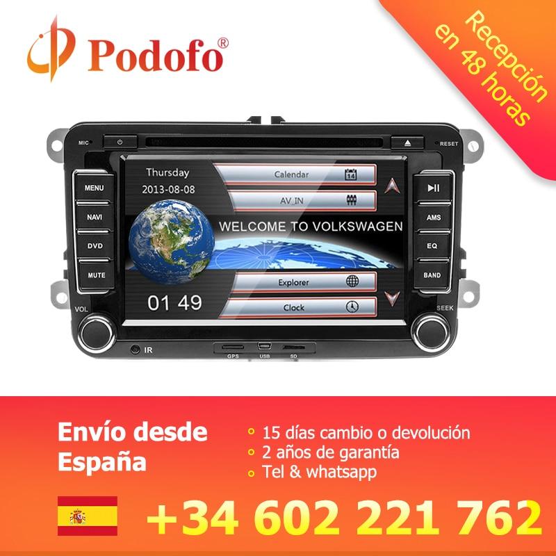 Podofo Voiture Multimédia lecteur GPS Autoradio 2 Din Radio Audio Pour Golf/6/Golf/5/Passat /b7/cc/b6/SIÈGE/leon/Tiguan/Skoda/Octavia