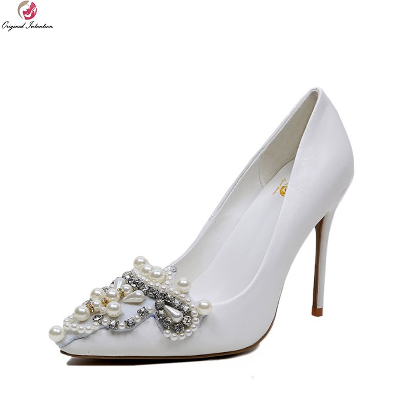 Original Intention Elegant Women Pumps Sexy Pointed Toe Thin Heels Wedding Pumps High-quality White Shoes Woman Plus Size 4-10.5 women silver high heels wedding shoes elegant rhinestone thin heel 10cm 8 5cm patent leather sexy pumps elegant sexy shoes