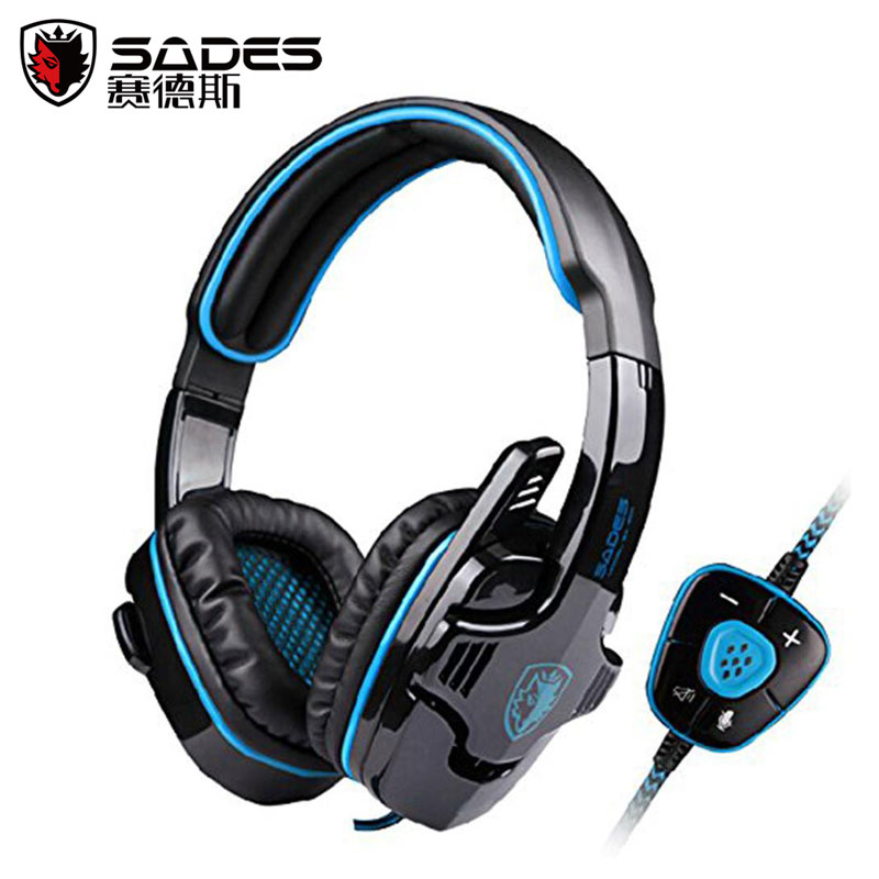 SADES SA-901 Fone De Ouvido 7.1 Surround Sound Headset Gamer With Mic Remote Control USB Stereo Bass Earphone for PC Gamer sades a60 gaming headphones 7 1 usb stereo surround sound fone de ouvido game headset led earphones with mic for pc casque gamer