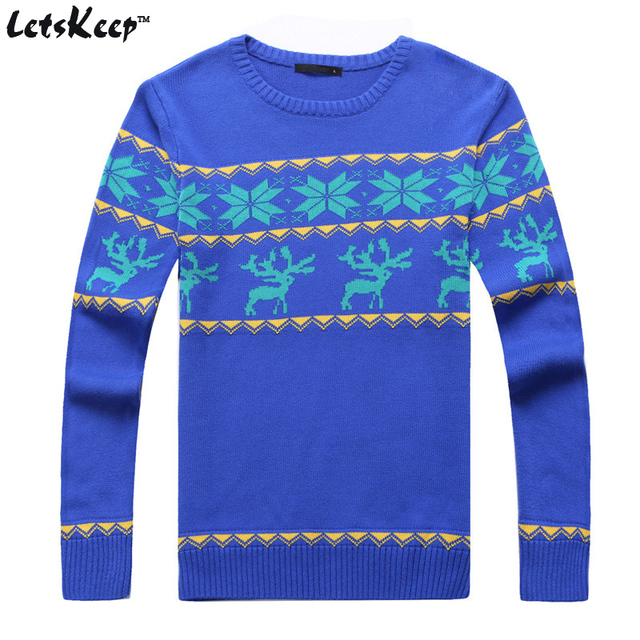 LetsKeep 2016 mens christmas sweater with deer men pullover Ugly christmas sweater men reindeer sweater knitted 3XL,MA155