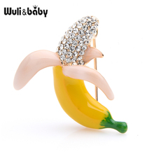 Wuli&baby Czech Rhinestone Enamel Banana Brooches Women Alloy Small Brooch Collar Pins Gifts