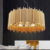 Пост современный Дизайн золото Алюминий трубки Люстры Италия Дизайн люстра Освещение Pendientes E14 люстры Светодиодные лампы kronleuchter