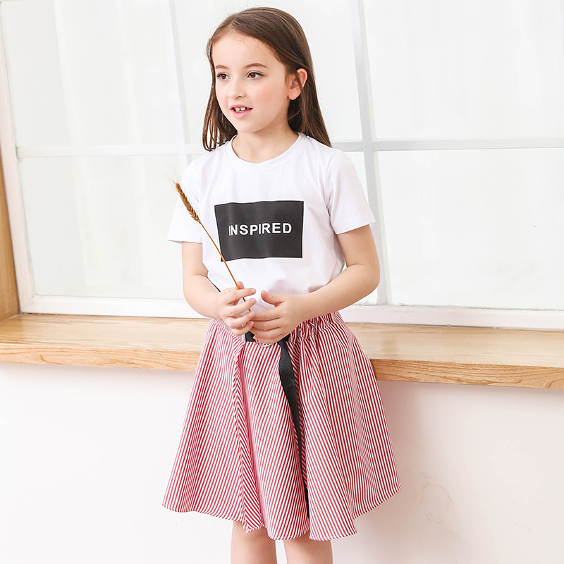 2 Pcs Set Teen Girls Clothing Sets Short Sleeve White Letter Tee Shirts Striped Skirts Kids Summer Girls Clothes Set For Teenage фильтр угольный cf 101м