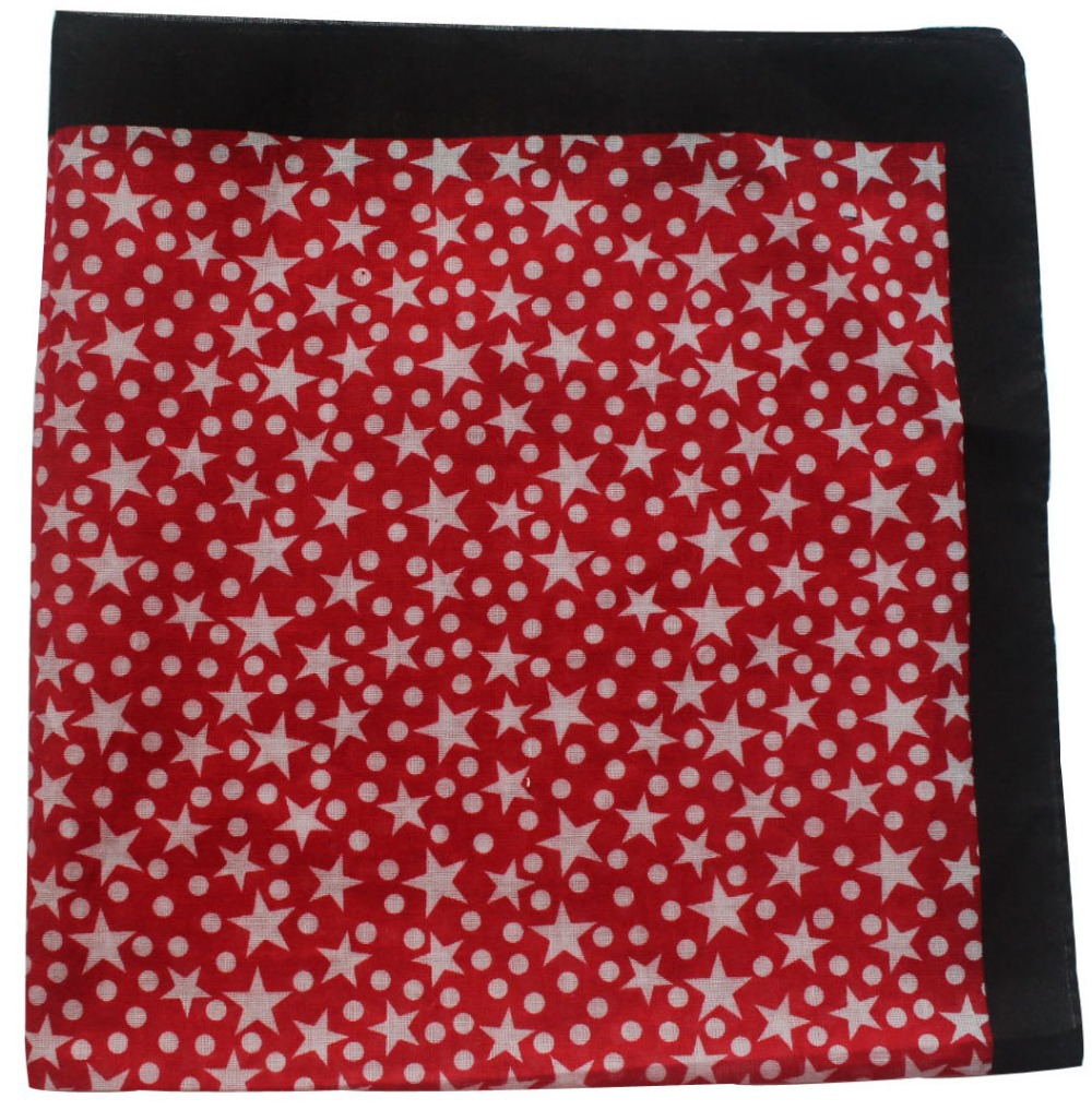 Free Shipping 2018 100% Cotton White Red Star Dot Bandanas Headband For Women Men