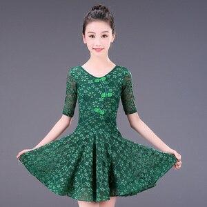 Image 2 - Robe latine en dentelle pour filles, jupe Tango Sumba, demi manches pour danse latine, tenue de danse pour salle de bal