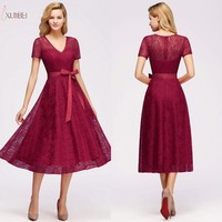 2019 Sexy Red Burgundy Women Lace Short Evening Dress Plus Size A line V Neck Evening Gown robe de soiree