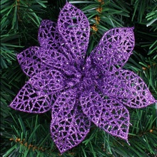 5pcs 15cm Glitter Artificial Flowers Christmas Tree Ornaments Decorations