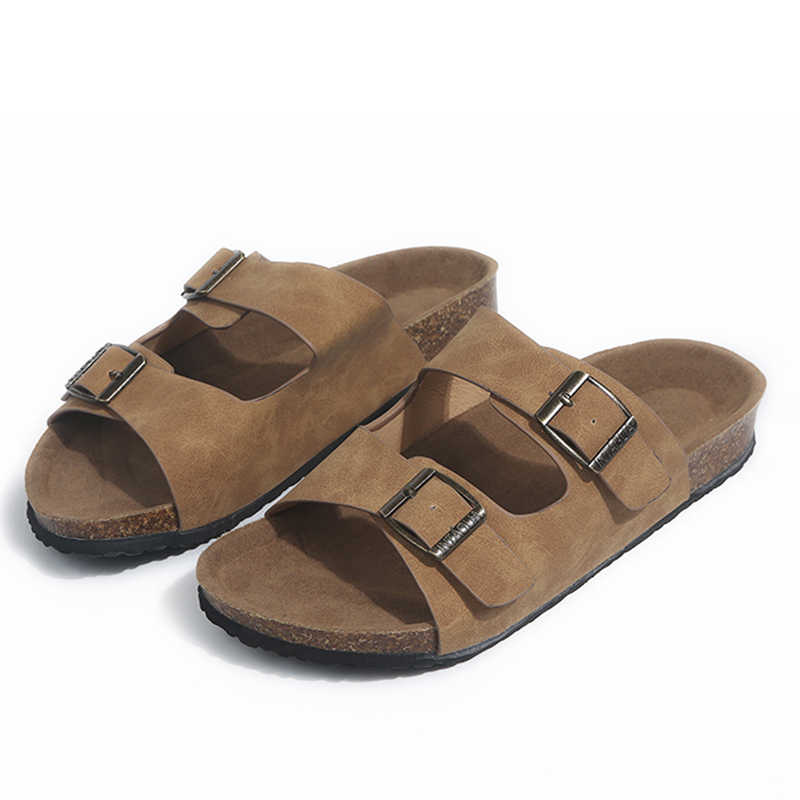 New Summer Woman Sandals Flat Slippers Suede Sandals Cork Sole Slides Casual Flip Flop Beach Slippers Flats Shoes Plus Size